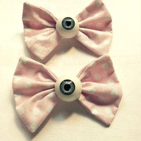 2 Sweet Pink Eyeball Bow Clips