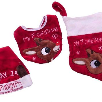 Rudolph Babys First Christmas Hat Bib Stocking 3 Pc Faux Fur Set Santa Holiday Red