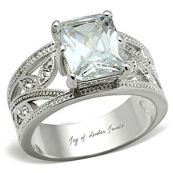 A Perfect 4.9CT Emerald Cut Russian Lab Diamond Floral Engagement Anniversary Ring