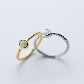 Opal Ring 925 Silver Punk Jewelry Vintage Anel Charm Minimalism Joyas Haut Bague Femme Aneis Anelli Rings for Women Anillos