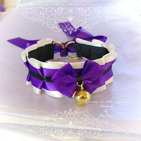 Kitten Pet Play Cat Collar Choker Necklace Beige Purple Black Satin Bow Gold Bell Kitty Cute pastel goth Lolita Neko BDSM DDLG Steampunk
