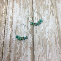 Turquoise Minimalist Boho Hoop Drop Earrings