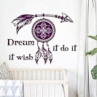 Dream Catcher Wall Decal Boho Dreamcatcher Art Feather Decor Night Symbol Boho Vinyl Decal Bohemian Bedding Decal Bedroom Nursery Decor MN1022 (22x30)
