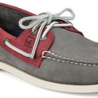 Sperry Top-Sider Authentic Original Two-Tone 2-Eye Boat Shoe Gray/Red, Size 13M  Men's Shoes