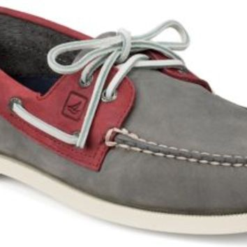Sperry Top-Sider Authentic Original Two-Tone 2-Eye Boat Shoe Gray/Red, Size 9M  Men's Shoes