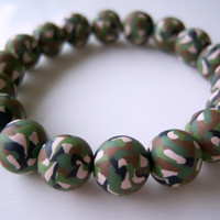 Camouflage Polymer Clay Beads Bracelet by BeadsByKatrina on Etsy