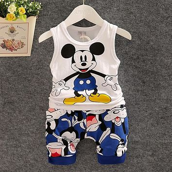 BibiCola Summer Children Vest Clothes Set Baby Boy Clothing Set Sleeveless Tops + Shorts Kid clothing set Boy Minnie mouse sport