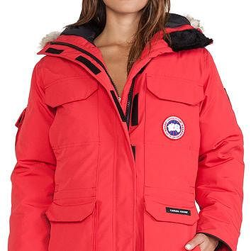 Canada Goose Expedition Parka with Coyote Fur Trim in Red
