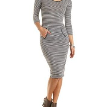 Striped & Hooded Midi T-Shirt Dress - Heather Gray Combo
