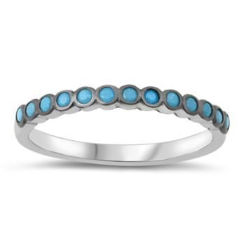 Circle Band Blue Turquoise Stone Ring Size 4-10 in .925 Sterling Silver