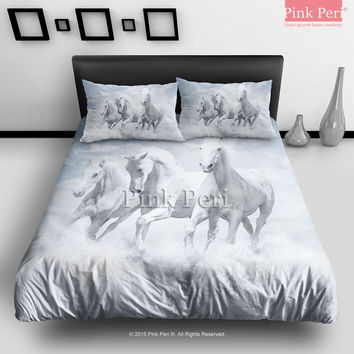 A Dream of 3 White Horse Bedding Sets Home & Living Wedding Gifts Wedding Idea Twin Full Queen King Quilt Cover Duvet Cover Flat Sheet Pillowcase Pillow Cover 048