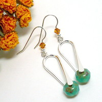Contemporary Silver Czech Apatite Swarovski Topaz Sterling Earrings