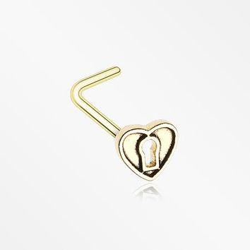Golden Antique Heart Lock L-Shaped Nose Ring