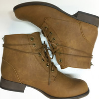 Lace Up Combat Bootie in Tan