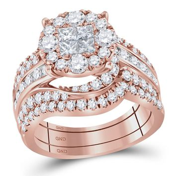 14kt Rose Gold Womens Princess Round Diamond Soleil Bridal Wedding Engagement Ring Band Set 2-1/2 Cttw