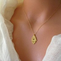 Gold plated Fatima, Hamsa hand necklace series 3 (protection against evil eye)