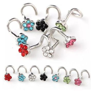 ac DCCKO2Q Stainless Steel Crrystal Nose Open Hoop Ring Earring Body Piercing Multicolor flower Nose Studs Women Stud Jewelry Drop Shipping