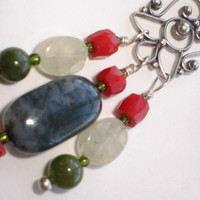 Moss Agate, Coral and Avanturine with  Bali Sterling Silver Necklace