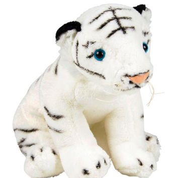 8 Inch White Tiger Stuffed Animal Plush Zoo Animal Friend Collection