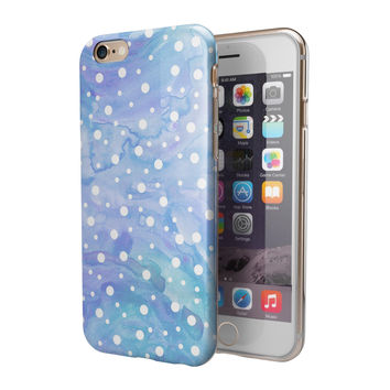 Whiet Mircro Dots Over Blue Watercolor Grunge 2-Piece Hybrid INK-Fuzed Case for the iPhone 6/6s or 6/6s Plus