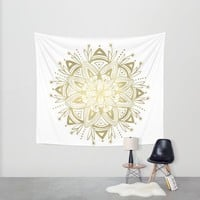 Mandala - Gold Wall Tapestry by Heather Dutton
