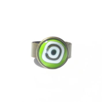 Murano Glass Lime Green Dot Millefiori Adjustable Ring