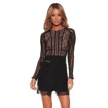 POSH GIRL Megan Long Sleeve Lace Mini Dress