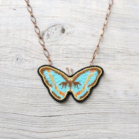 blue butterfly necklace, turquoise butterfly jewelry, summer jewelry, Embroidered Necklace, Romantic Necklace, Boho Textile Jewelry