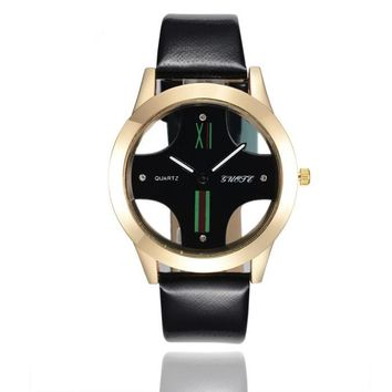 Leather Band Sport Analog Watch