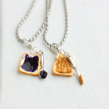 Peanut Butter Grape Jelly Best Friends Necklace  - Miniature Food Jewelry - Food Jewelry