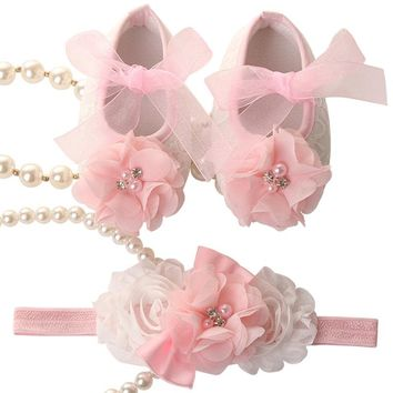 Newborn Baby Girl Shoes Brand,Flower Bow Toddler Infant Fabric Baby Booties Headband Set,Little Girl Baby Walker First Shoe