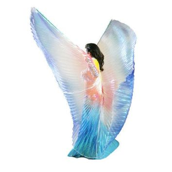 NEW Cute Children Wings Kids Dance Costume Dresses Blue Yellow Red Interval Colors Cosplay