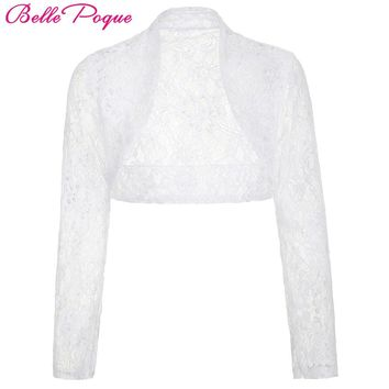 Belle Poque Women Jacket 2017 Casual Long Sleeve Cropped Shrug White Black Lace Wedding Boleros Laides Coats Outerwear Clothing