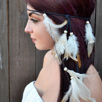 Feather Headband  - Festival Headband - Hippie Headband - Tan Feathers -  Hair Accessories - Bohemian - Boho - Tribal