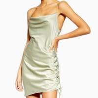 Explosive Satin Dress Women's Summer New Sexy Pleated Bag Hip Slip Dress