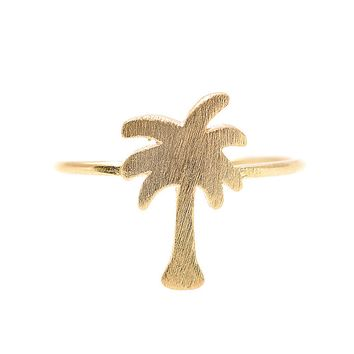 Handcrafted Brushed Metal Cut Out Palm Tree Ring