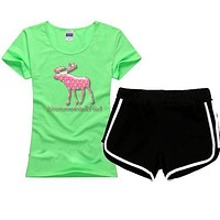 AF Abercrombie & Fitch Women Men Fashion Cotton Sport Shirt Shorts Set Two-Piece Sportswear