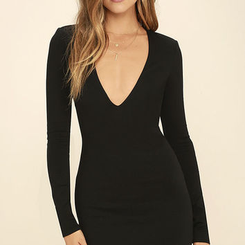 Fun and Fame Black Long Sleeve Bodycon Dress