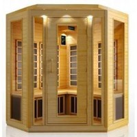 4 Person Corner Sauna Hemlock Carbon Fiber Dry Heat FAR Infrared Portable Detox New