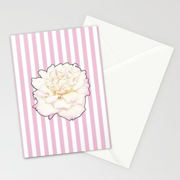 Pale Rose on Stripes Stationery Cards by drawingsbylam