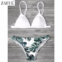 ZAFUL Sexy Brazilian Bikini Set Swimwear Women Swimsuit Bathing Suit Cami Palm Leaf Print Biquini Swim Suit Maillot De Bain