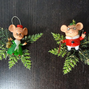Vintage Plastic Mr Mouse and Mrs Mouse Christmas Ornaments & Decorations - Old Fashioned Christmas