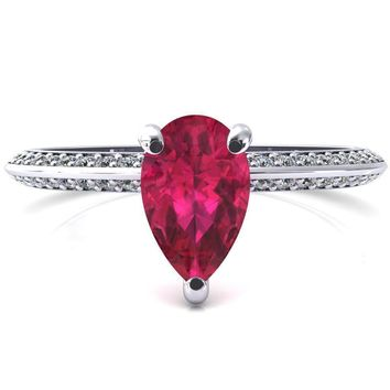 Nancy Pear Ruby 3 Prong 1/2 Eternity Diamond Knife Shank Accent Engagement Ring