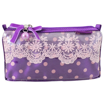 "Polka Dot Romance Small Cosmetic Bag 7.25""""X4""""X2"""" Purple: Purple"