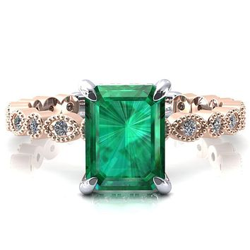 Lizette Emerald Emerald 4 Claw Prong 3/4 Eternity Milgrain Diamond Shank Engagement Ring