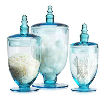 Elegant Blue Set of 3 Glass Apothecary Jars with Lid - High Glass Canister - Home Decor & Party Wedding Centerpiece Terra Collection (3 Piece Set) Designer Decorative.