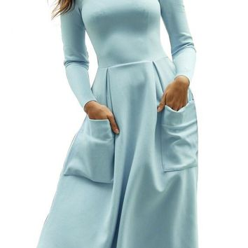 Casual Light Blue Bateau Collar Big Pocket Midi Skater Dress