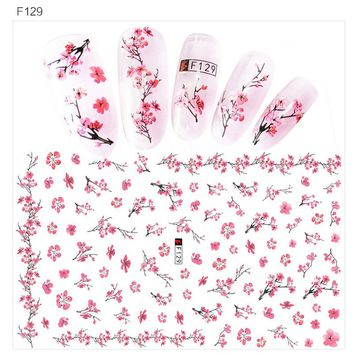 BlueZoo 1Sheet DIY Flower Colorful Nail Stickers Cartoon Water Sticker Transfer Full Cover Tips Nails Accesseries Nail Decals