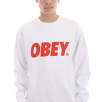 OBEY FONT CREW NECK SWEATSHIRT IN WHITE/RED (331740029-WHT)