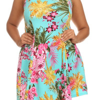 TROPICAL FLORAL PRINT DRESS - TURQUOISE - PLUS SIZE